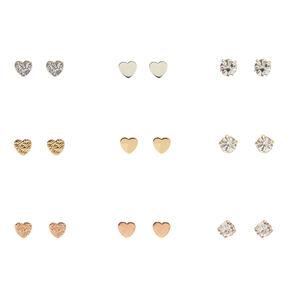 Mixed Metal Mini Heart & Clear Faux Crystal Stud Earrings - 9 Pack,