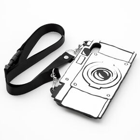 Black & White Camera Silicone Phone Case with Lanyard - Fits iPhone XR,