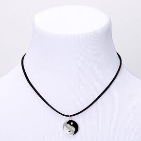 Silver Glitter Yin Yang Cord Pendant Necklace - Black,