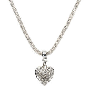 Silver Embellished Heart Pendant Necklace,