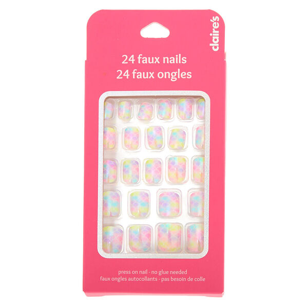Claire's - mermaid scale press on faux nail set - 2