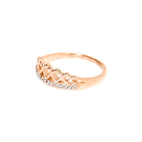 Rose Gold Embellished Tiara Ring,