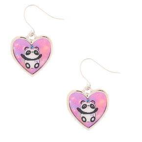 "Go to Product: 1"" Charlie the Panda Holographic Drop Earrings - Pink from Claires"
