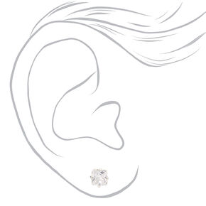 Silver Cubic Zirconia Mixed Shape Magnetic Stud Earrings - 3 Pack,