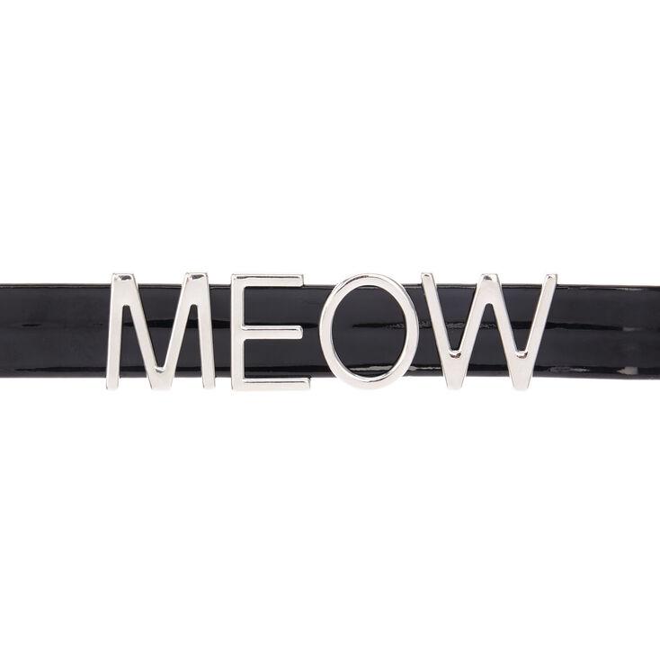 Collier ras du cou en velours motif « Meow » noir et couleur argenté,