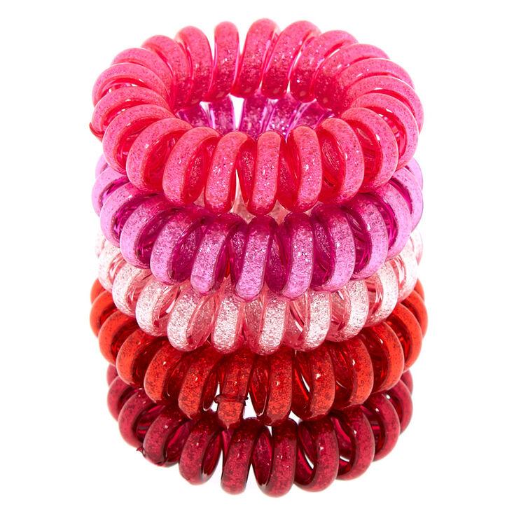Mini Glitter Spiral Hair Bobbles - Pink,