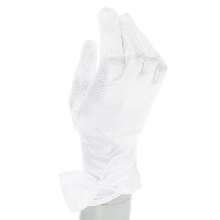 Claire's Club Flower Girl White Satin Gloves,