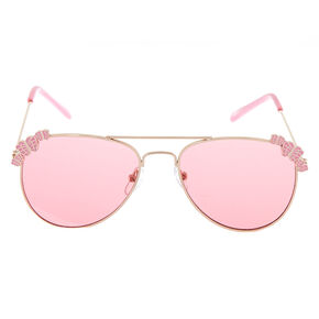52b617bbf4 Claire s Club Rose Gold Butterfly Aviator Sunglasses - Pink
