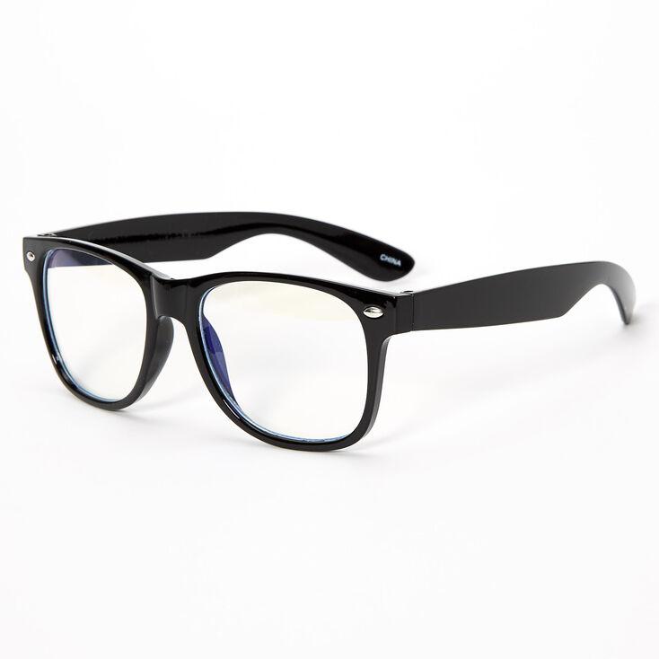 Solar Blue Light Reducing Retro Clear Lens Frames - Black,