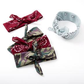 Camo Paisley Bandana Headwraps - Burgundy, 5 Pack,