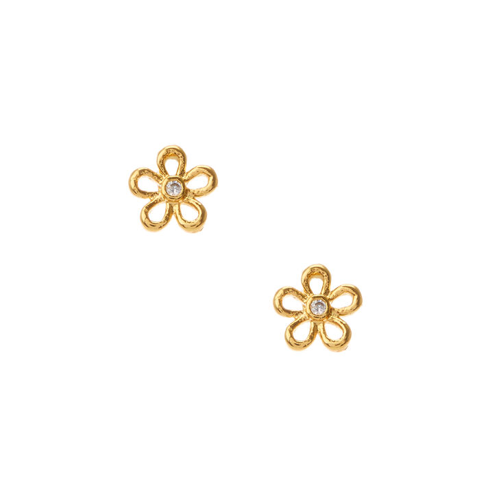 Cubic Zirconia 18kt Gold Plated Daisy Stud Earrings