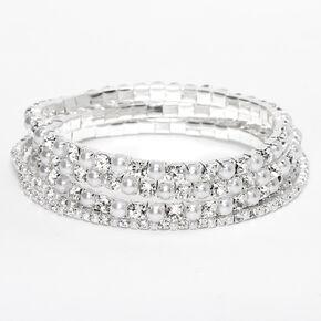 Bracelets élastiques avec strass et perles d'imitation couleur argentée - Lot de 5,
