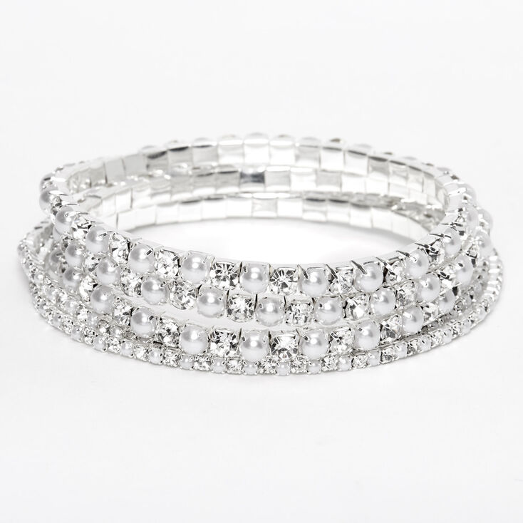 Silver Rhinestone & Pearl Stretch Bracelets - 5 Pack,