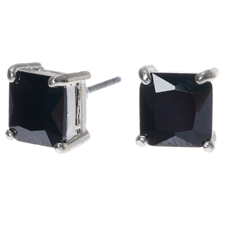 Silver Cubic Zirconia 7mm Square Stud Earrings Black