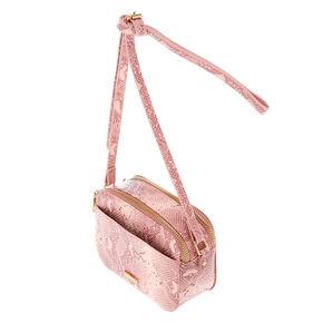 Snake Skin Crossbody Bag - Pink,
