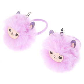 Lala the Llamacorn Pom Pom Hair Ties - Purple, 2 Pack,