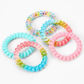 Claire's Club Pastel Rainbow Holographic Coil Bracelets - 5 Pack,