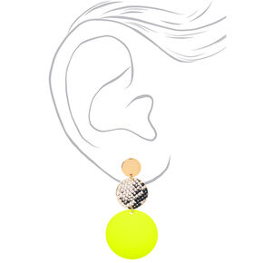 "Gold 2"" Neon Snakeskin Circle Drop Earrings - Yellow,"