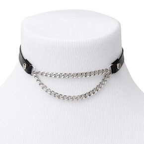 Silver Biker Chain Choker Necklace - Black,