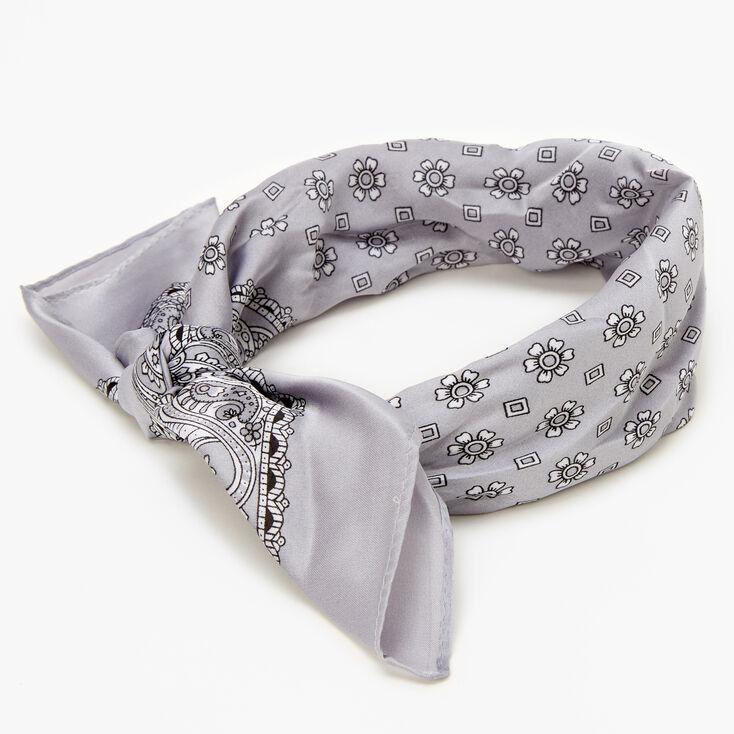 Bandeau bandana soyeux imprimé floral et cachemire - Couleur argentée,