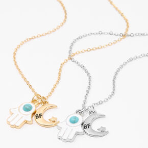 Best Friends Celestial Hamsa Hand Pendant Necklaces - Turquoise, 2 Pack,