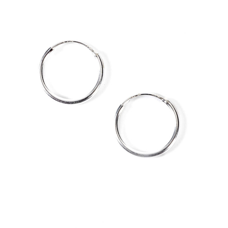 7fd945496 Sterling Silver 10MM Classic Hoop Earrings | Claire's
