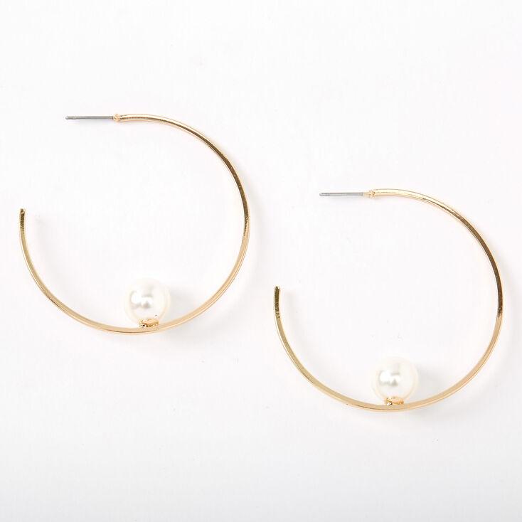 Gold 45MM Single Pearl Hoop Earrings,