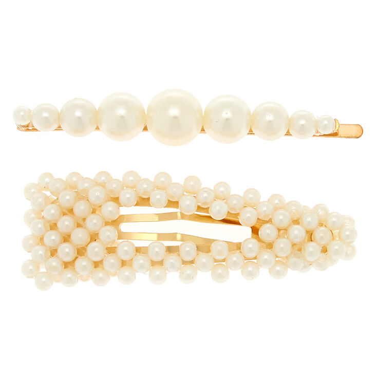 Gold Pearl Hair Pin & Snap Clip - Ivory, 2 Pack,