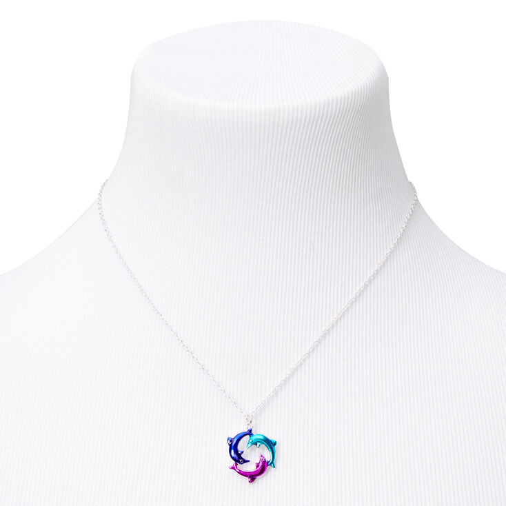 Silver Anodized Circle of Dolphins Pendant Necklace,