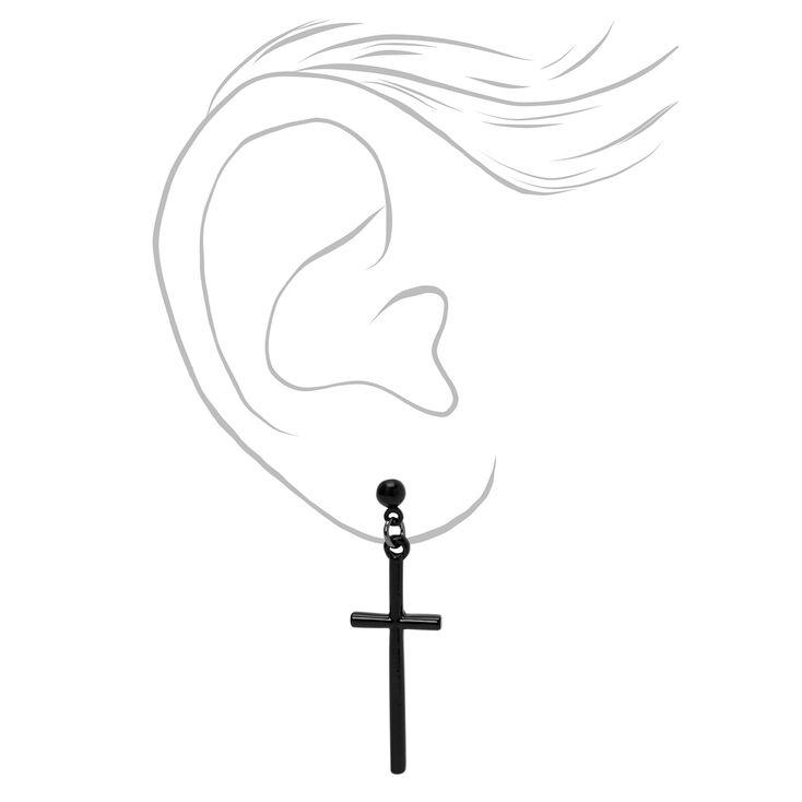 """Black 1.5"""" Basic Cross Drop Earrings,"""