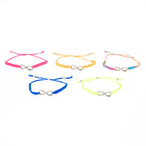 Neon Infinity Adjustable Friendship Bracelets - 5 Pack,