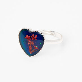 Pressed Flowers Heart Mood Ring - Silver,