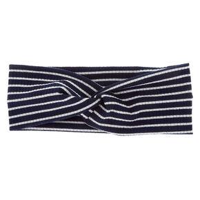 Rib Knit Stripe Headwrap - Navy,