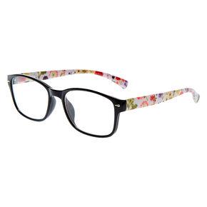 Floral Rectangle Clear Lens Frames - Black,