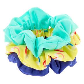 Claire's Club Small Rainbow Hair Scrunchies - Blue, 3 Pack,