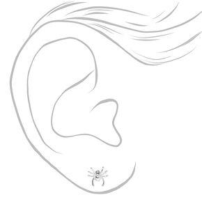Clous d'oreilles araignée couleur argentée,