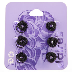 Twisted Crystal Hair Spinners - Black, 6 Pack,