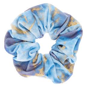 285d6dec425e Gold Marble Velvet Hair Scrunchie - Blue