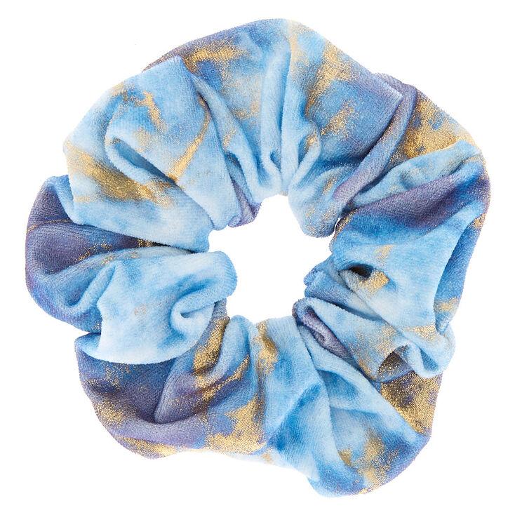 Claire's Chouchou en imitation velours bleu avec motifs dorés effet marbré
