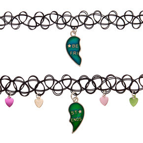 Best Friends Mood Broken Heart Tattoo Choker Necklaces - 2 Pack,