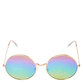 Rainbow Round Sunglasses - Rose Gold,