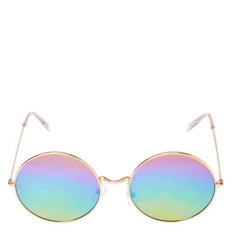 Rainbow Round Sunglasses - Rose Gold,