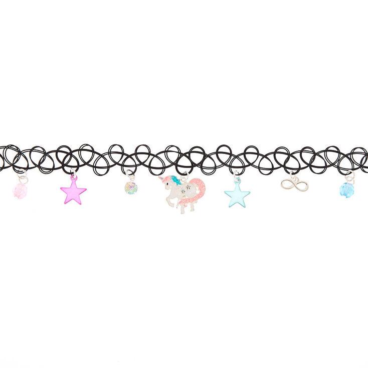 Unicorn Star Tattoo Choker Necklace,