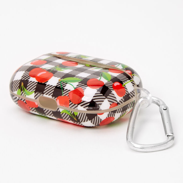 Gingham Cherry Earbud Case Cover - Compatible with Apple AirPods,