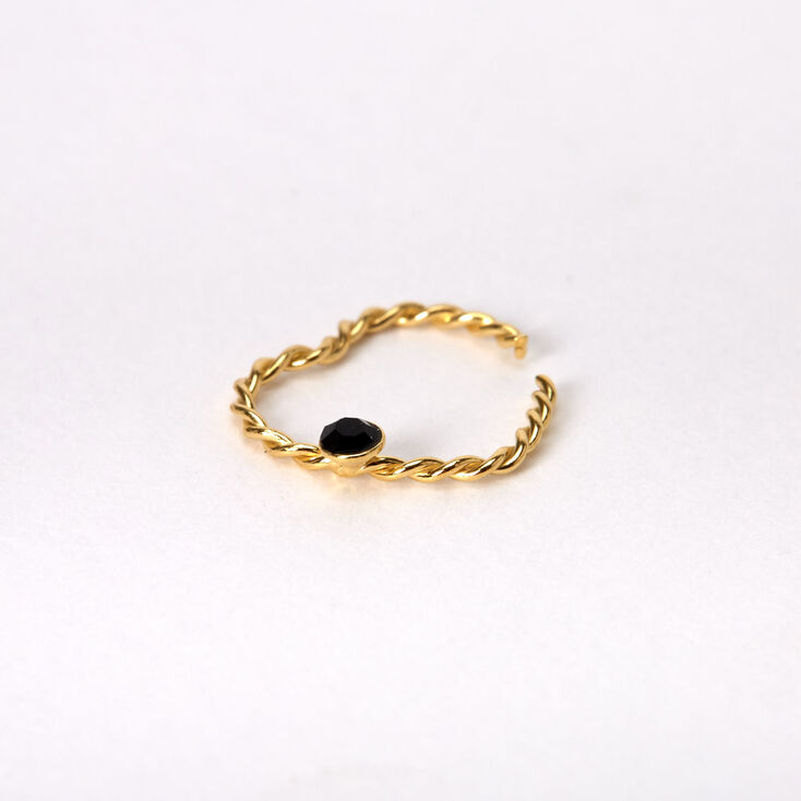 Gold Sterling Silver 20G Crystal Heart Rook Earring - Black,