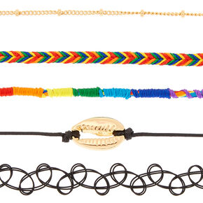 Rainbow Daze Choker Necklaces - 5 Pack,