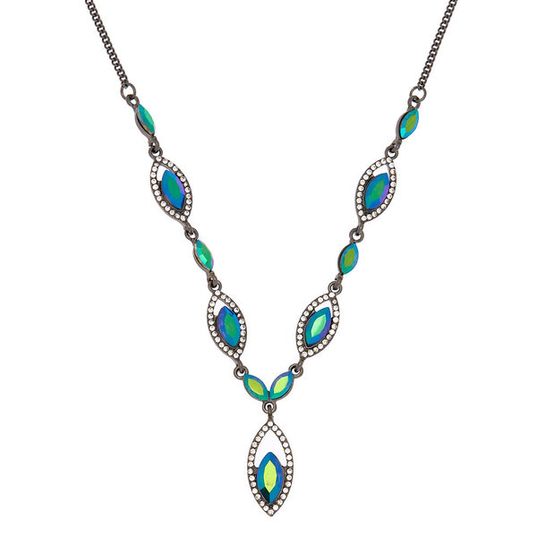 Claire's - hematite anodized teardrop statement necklace - 1
