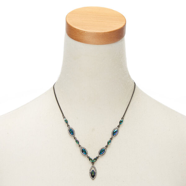 Claire's - hematite anodized teardrop statement necklace - 2