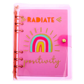 Radiate Positivity Rainbow Transparent Journal - Pink,