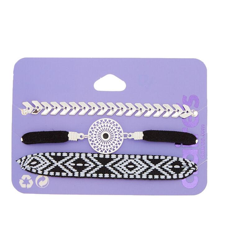 Southwest Chain Bracelets - Black, 3 Pack,